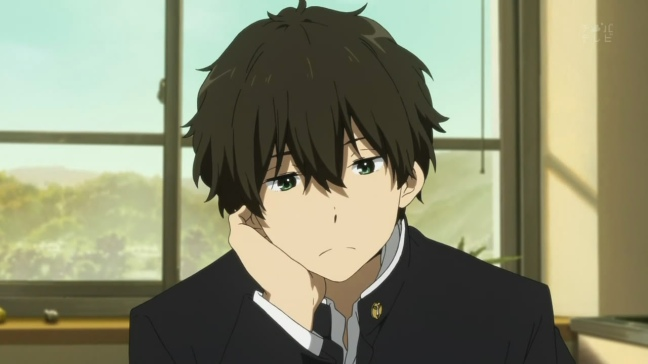 hyouka-13-houtarou-alone-bored-happy-content