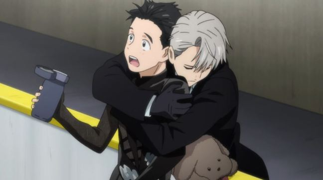Yuri on Ice Episode 5 Victor hugs Yuri