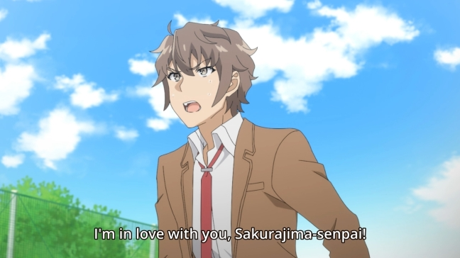 Sakuta shouts his love for Mai at the School - Rascal Does Not Dream of Bunny Girl Senpai